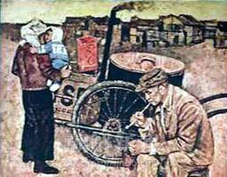 「貧しい生活」1960年 120x130(センチ)キャンバスに油彩 朝鮮民主主義人民共和国美術博物館蔵