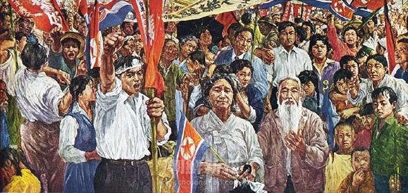 「帰りたし祖国へ」1958年 200x455(センチ)朝鮮民主主義人民共和国 美術博物館蔵