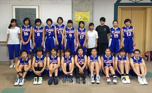 日本のリーグ戦に出場している関東の朝鮮中級部バスケ男子選抜チーム(写真提供=「KOREA」)