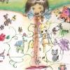 〈子ども美術館-第40回学生美術展 13〉図形の人形と私(水彩、混合素材)