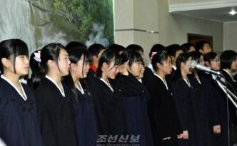 재일조선학생소년예술단의 환송모임(사진 리태호기자)