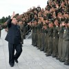김정은제1위원장, 중요대상건설에서 로력적위훈을 세운 조선인민내무군 군인들과 함께 기념촬영