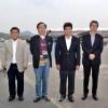 일본 교도통신사대표단 평양 도착