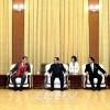 국가체육지도위원회 장성택위원장, 이노끼회장들과 일본 체육대학대표단 주요성원들과 담화