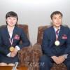 《승리의 보고 드리게 되여 기쁘다》/탁구우승자들, 기자회견에서 강조