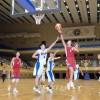 조일 두 나라 체육대학 선수들의 롱구경기 진행