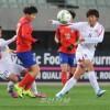 【사진특집】〈올림픽녀자축구 아시아최종예선〉첫 경기, 조선 대 남조선