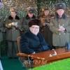 김정은원수님, 조선인민군 대련합부대별 방사포병중대사격경기를 지도