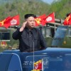 김정은원수님께서 영웅적조선인민군창건 85돐경축 조선인민군 군종합동타격시위를 보시였다