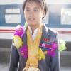 4개의 금메달을 쟁취/김국향 물에뛰여들기선수