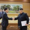 김정은원수님, 남조선대통령의 특사대표단 성원들을 접견