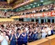 원수칭호를 수여하신 김정은제1위원장께 축하드리는 평양시민들의 경축대회 진행
