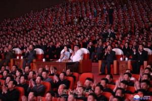 김정은원수님, 태양절경축 중요예술단체들의 합동공연을 관람