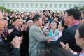 김정은원수님께서 공화국창건 73돐 경축행사에 참가한 로력혁신자, 공로자들을 만나시고 축하해주시였다