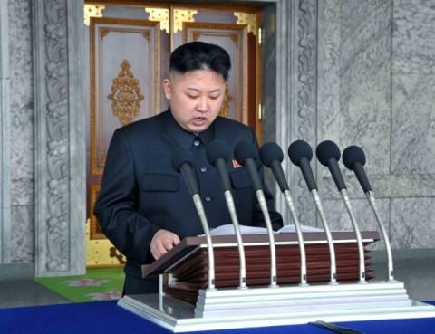 김일성주석님 탄생 100돐기념경축 열병식에서 연설하시는 김정은원수님(조선중앙통신)