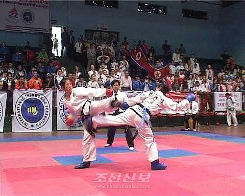 제7차 아시아태권도선수권대회 녀자맞서기결승경기의 주도권을 쥔 조선선수(왼쪽, 평양지국)