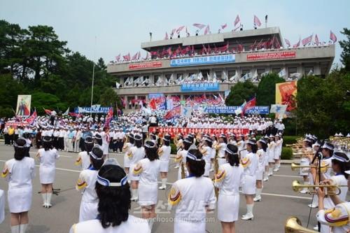 조국해방 70돐기념 민족통일대회 자주통일결의대회가 판문점에서 진행되였다.(사진 김숙미기자)