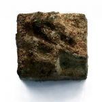 개성 만월대의 서부건축군 남쪽부분에서 발굴된 금속활자(조선중앙통신)