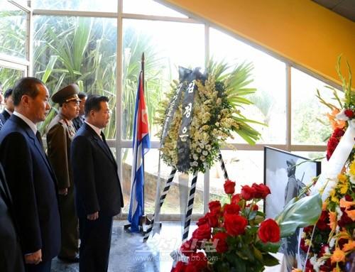 조선 당 및 국가대표단이 조의식장을 찾아 조의를 표시하였다.(조선중앙통신)