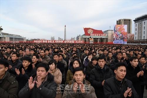 김일성광장에서 진행된 평양시군중대회