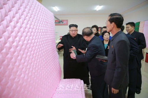 김정은원수님께서 김정숙평양제사공장에 새로 꾸린 이불생산공정과 새로 건설된 로동자합숙을 현지지도하시였다.(조선중앙통신)
